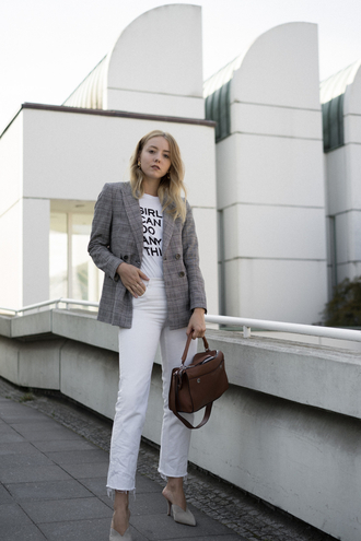 jacket plaid blazer plaid blazer grey blazer denim jeans white jeans cropped jeans bag brown bag high heels heels mules t-shirt