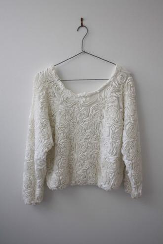 shirt white rose sweater boho cute roses 3d 3d roses