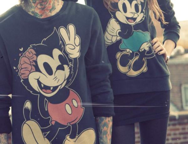 sweater boy girl cute match dead disney zombie mickey couple sweaters matching shirts zombie