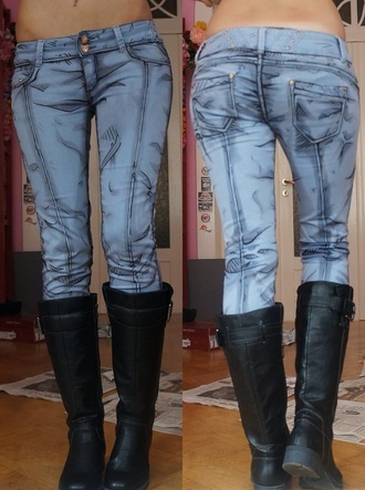 jeans cartoon shoes blue pants video games tale tell games comic book cosplay leggings comic girl hipster grunge comic con style superman telltale games cute jeans unique blue jeans too sassy amazing