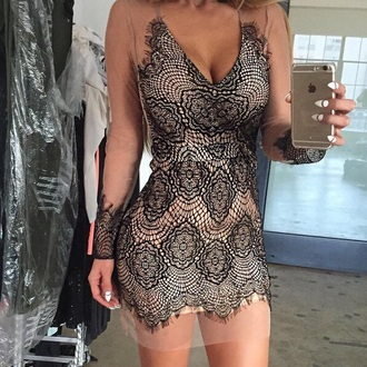 dress black dress lace dress bodycon dress short dress party dress nude bodycon clothes long dress long sleeves sexy dress sexy style