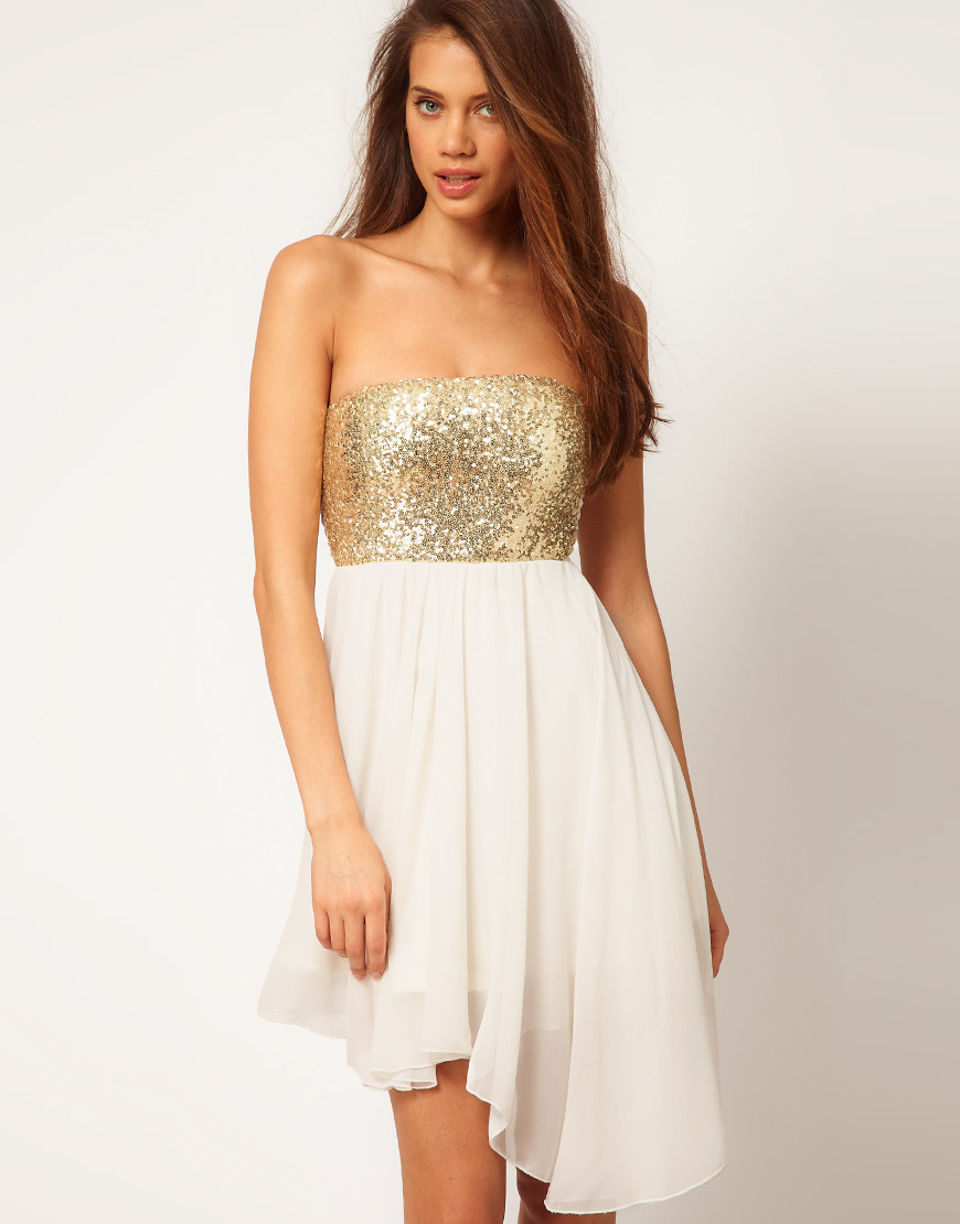 2019 year look- Gold Asos sequin skirt pictures