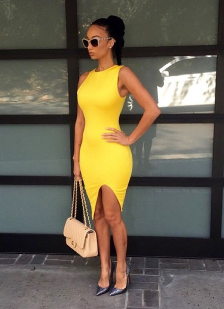 dress midi thigh dress draya michele yellow yellow dress slim dress bodycon dress draped dress