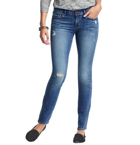 Distressed Modern Skinny Jeans in Chilled Blue Wash | Loft