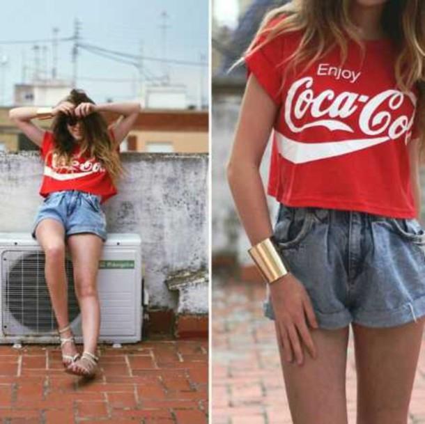 Shirt Crop Tops Crop Tops T Shirt Red Coca Cola