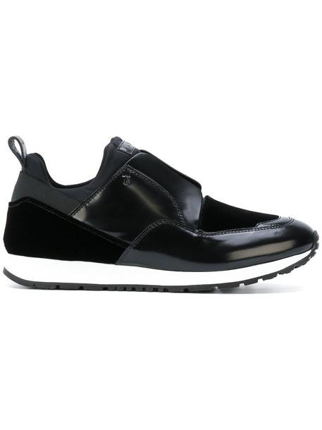 TOD'S women sneakers leather black velvet neoprene shoes