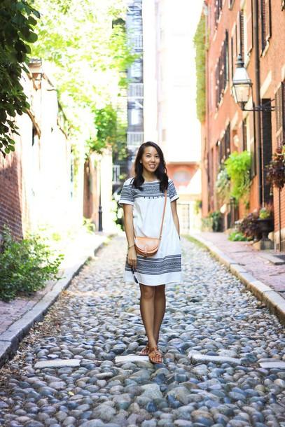 refined couture blogger dress sunglasses bag shoes white dress shoulder bag mini bag flats