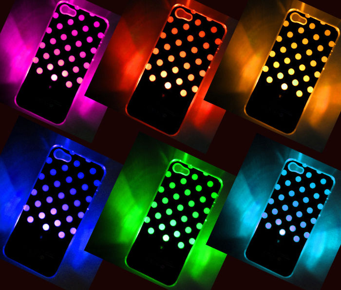 online retailer c8506 0fa89 LED Color Changing Sense Flash Light Up Case Cover f. iPhone 5 5G 5th Free  Track