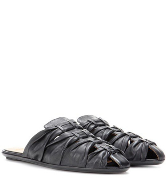 The Row Capri Leather Slippers in black