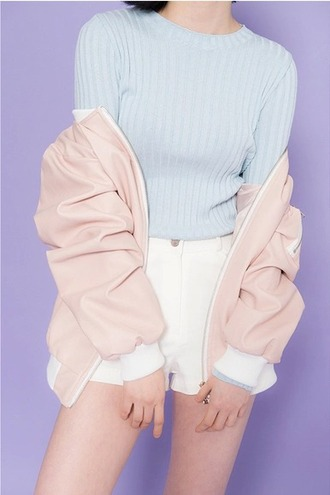 sweater pastel pull clingy strechy light blue pastel pink bomber jacket jumper white shorts