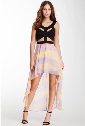 dress black top pink skirt yellow skirt purple skirt