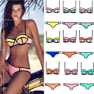 swimwear bikini bikini top bikini bottoms blue black pink yellow green orange mint neon white triangle bikini tumblr tumblr bikini tumblr clothes tumblr girl trendy brazilian bikini seperates neoprene bikini summer fashion beautiful cute style sexy cool women bikini women bra triangl beach push up bikini colorful pinterest pink bikini colorblock best friends bracelet womens sexy bikini 2015 bikini