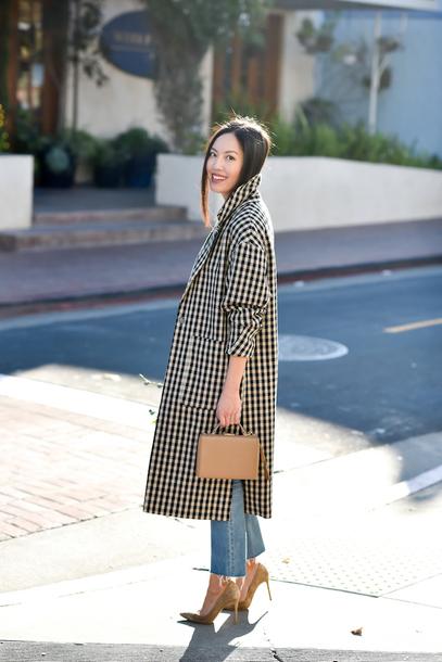 coat tumblr checkered printed coat work outfits bag handbag denim jeans blue jeans pumps pointed toe pumps