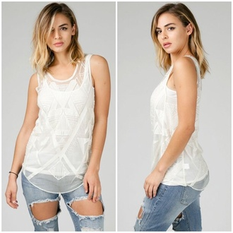 t-shirt tank top ivory white embroidered details stitching urban girly chic casual get this look angl triangle see through boho