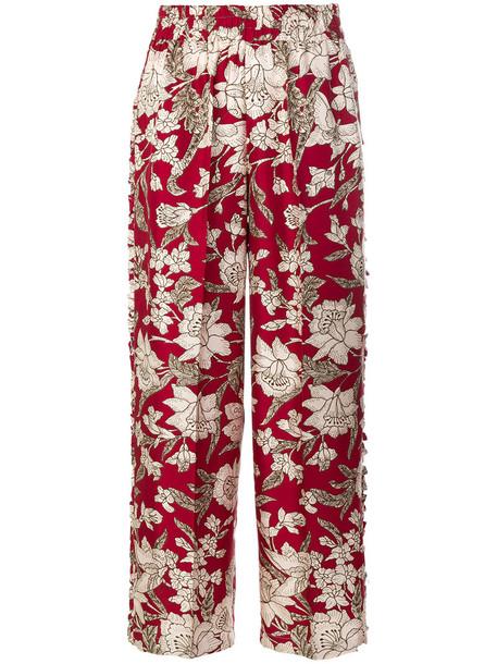 La DoubleJ women floral print silk red pants