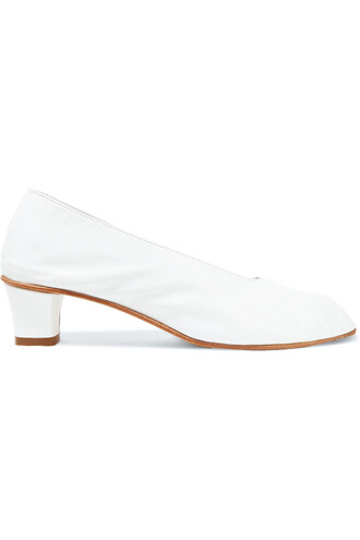 high pumps leather white shoes