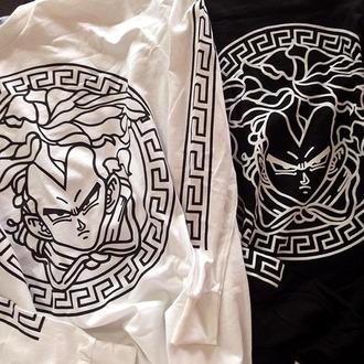 anime dragon ball z versace black white grunge tumblr cotton streetwear