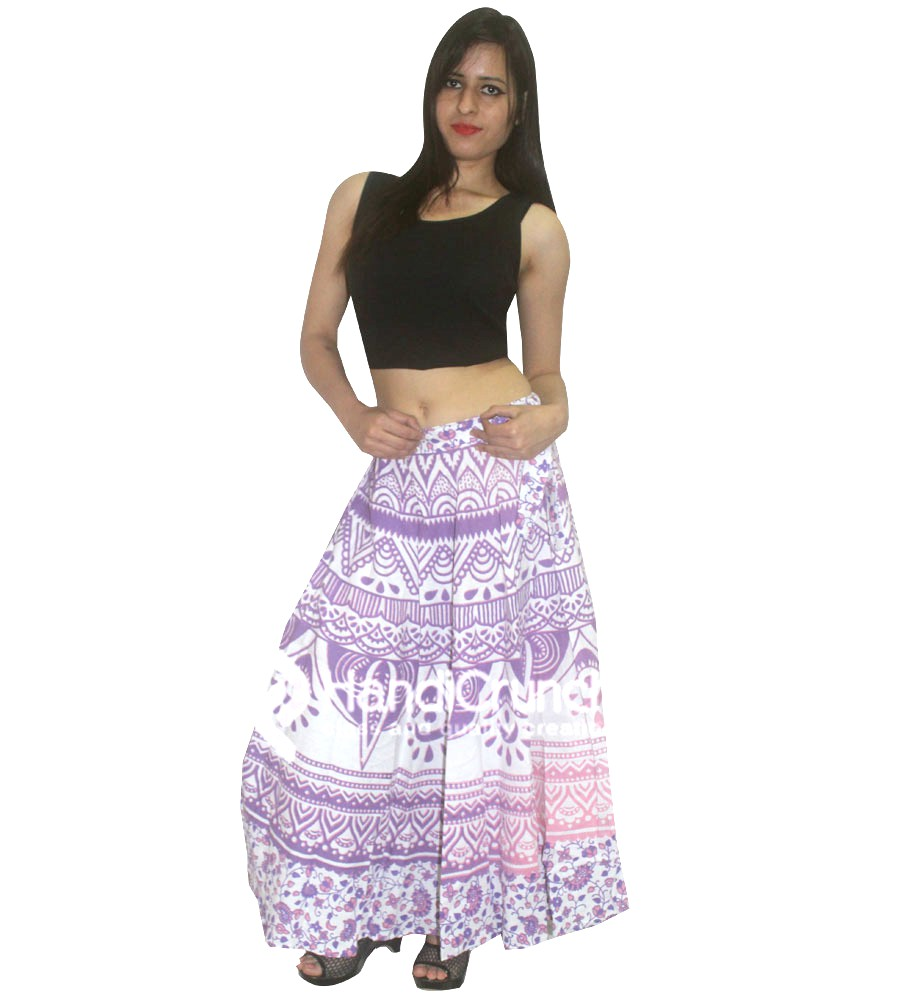 Purple Ombre Printed Rapron Skirts for Women