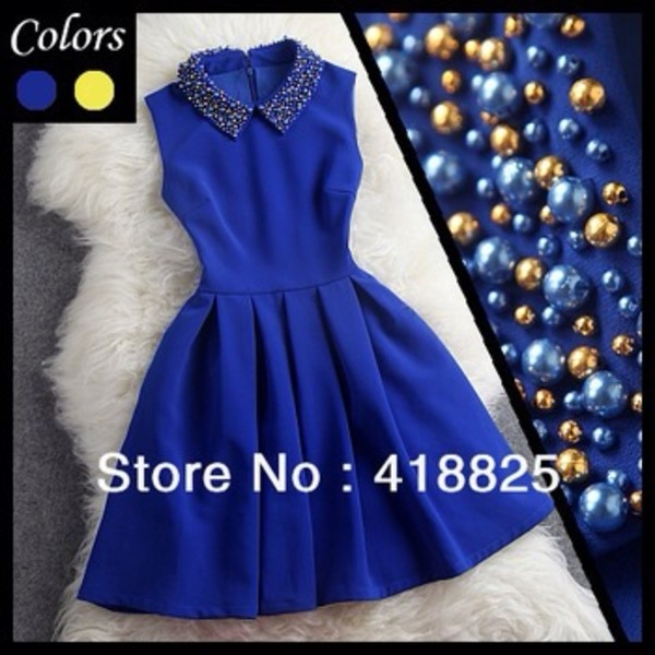 dress blue short cute collar diamonds like