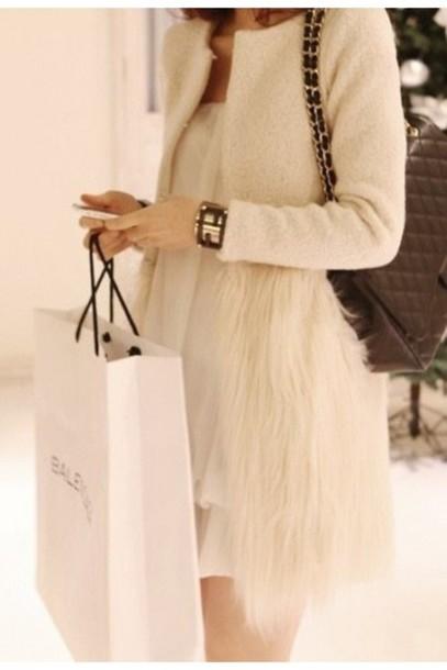 Coat Jacket Fur Coat Fur Jacket Faux Fur White Clothes Clothes Fashion Instagram Style