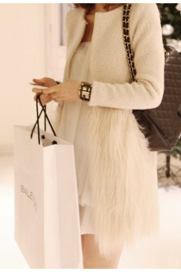 coat jacket fur coat fur jacket faux fur white clothes clothes fashion instagram style instastyle look of the day lookbook
