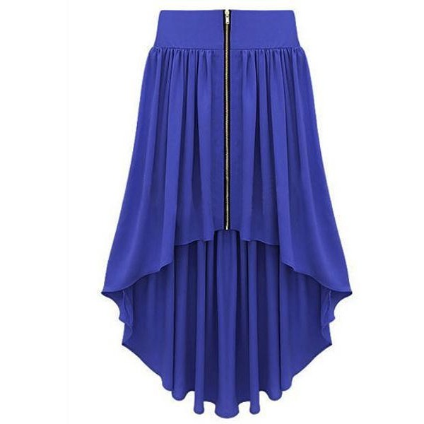 Bqueen Asymmetrical Maxi Skirt Blue BY147L - Polyvore