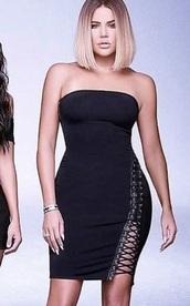 dress,kardashians,kardashian intro,khloe kardashian,black dress