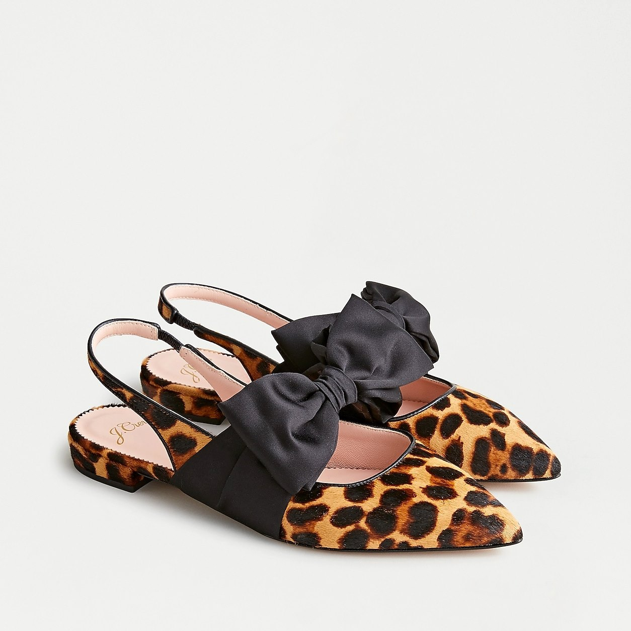 Gwen Slingback Flats With Bow In Leopard Calf Hair