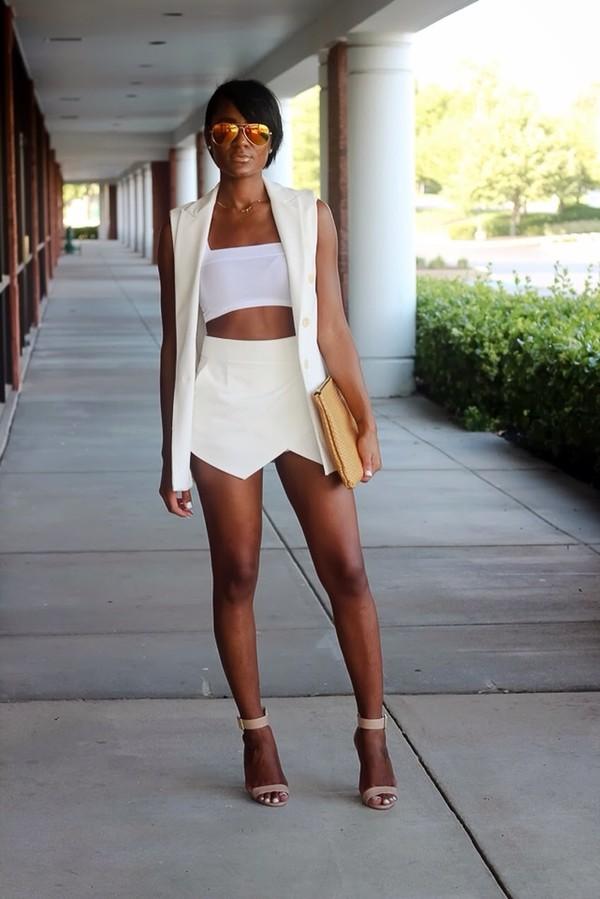 jacket vest cream vest skirt shoes