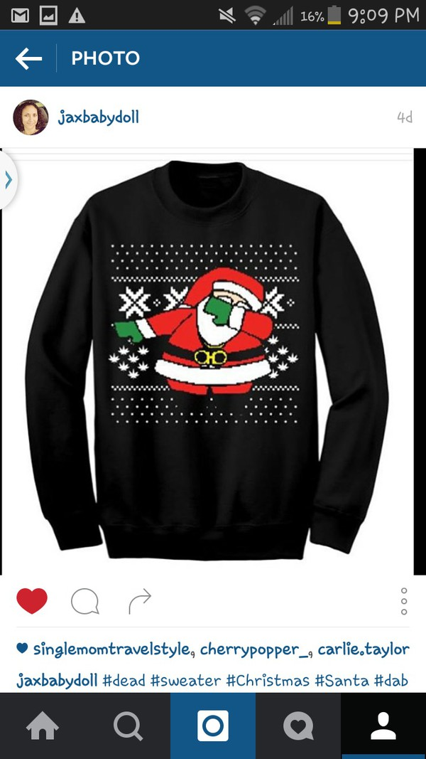 sweater black santa dabbing christmas list long sleeves wheretoget