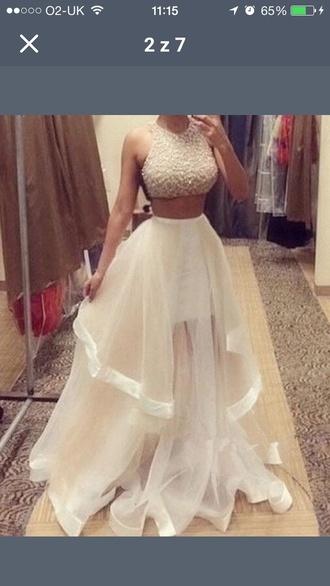 two-piece prom dress nude dress nude tulle dress