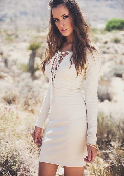 7a950f7b1cd bodycon dress lace up lace up dress long sleeve dress sexy dress off-white