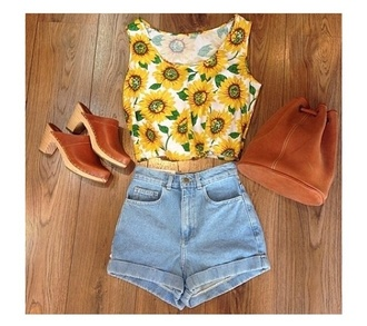 shirt flowers t-shirt yellow plants sunflower sunflower shirt jeans shorts levi's shorts high waisted shorts high top sneakers bag shoes
