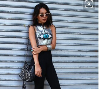 top holographic grunge pale pale grunge crop cropped style fashion crop tops tank top silver