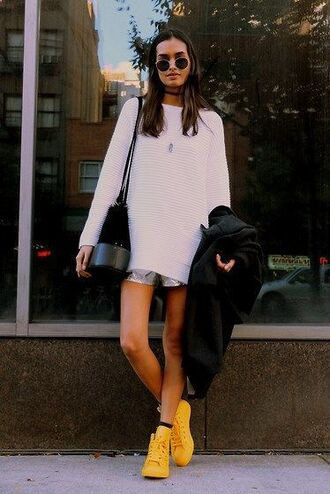 shoes white long sleeve dress white shorts yellow sneakers black bag