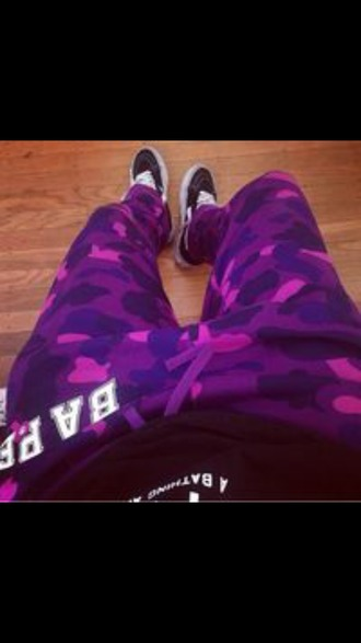 pants camo pants menswear purple pants