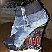 shoes,dashiki shoes,denim and dashiki,dashiki,yeezy boots,denim,denim boots,denim booties,ankara,african print,ethnic,boots,booties