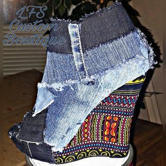 shoes dashiki shoes denim and dashiki dashiki yeezy boots denim denim boots denim booties ankara african print ethnic boots booties