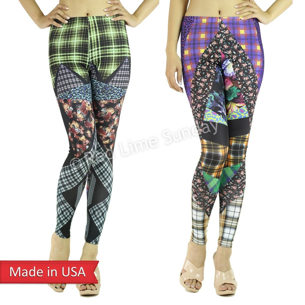 Color Check Animal Leopard Floral Colorblock Stretchy Leggings Tights Pants USA