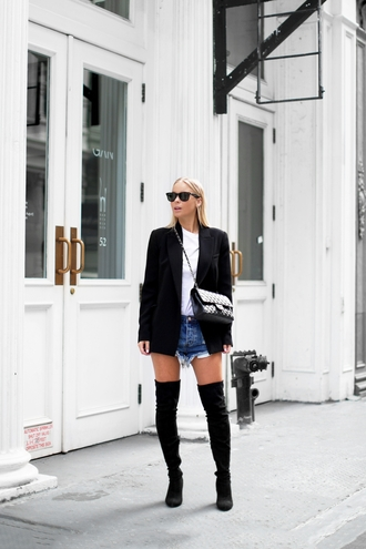 victoria tornegren blogger thigh high boots black jacket distressed denim shorts black boots fall outfits