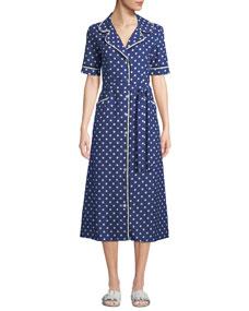 Evi Grintela Gloria Polka-Dot Cotton Midi Shirtdress