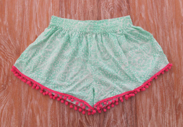 shorts mint pink boho indie cute fashion blue indian style african style beautiful pom pom shorts