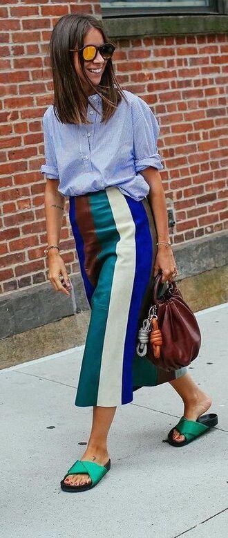 skirt derek lam derek lam skirt multi colored skirt striped skirt maroon handbag slide shoes green slides streetstyle fashion week blue shirt mirrored sunglasses midi skirt midi leather skirt