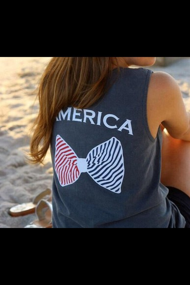 america mercia red white blue red striped blue stripes ribbon grey gray tank top sleeveless