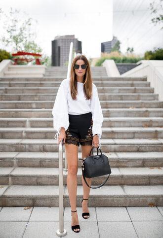 themilleraffect blogger top shorts shoes bag white top handbag givenchy bag sandals high heel sandals