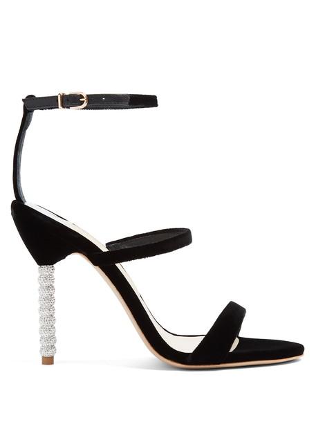 heel velvet sandals embellished sandals velvet black shoes