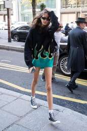 sweater,sneakers,sweater dress,kaia gerber,model off-duty,fall sweater,fall outfits,fashion week,streetstyle
