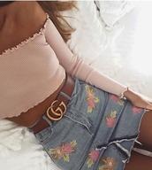 skirt,floral skirt,floral,pink,denim skirt,gucci,blue,strapless top,mini skirt,denim,pink flowers,cute,instagram,instagram girl,shirt,belt,top,jeanskirt,summer,anyone know where i can get this skirt ri