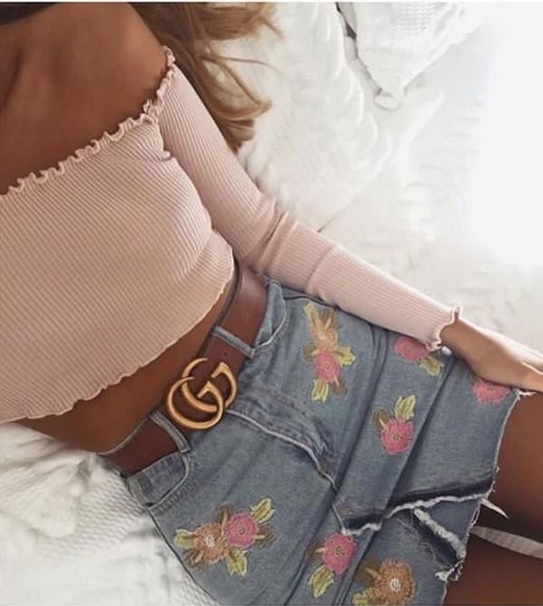 skirt floral skirt floral pink denim skirt gucci blue strapless top mini skirt denim pink flowers cute instagram instagram girl shirt belt top jeanskirt summer anyone know where i can get this skirt ri