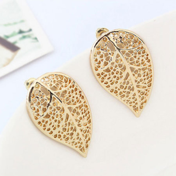 jewels earrings stylish leaves hollow out gold